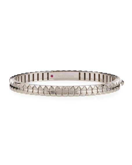 Roberto Coin Rock and Diamonds 18k White Gold Bangle Bracelet, 48x58mm