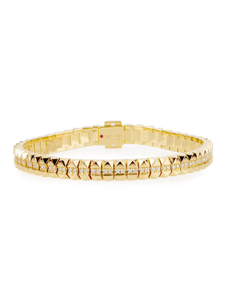 "Roberto Coin Rock and Diamonds 18k Yellow Gold Diamond Flexible Bracelet, 7"""