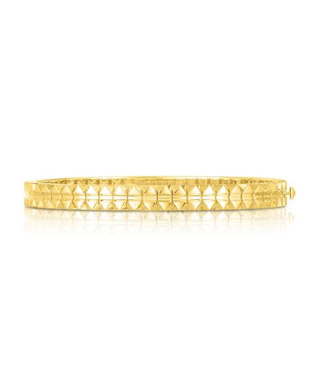 Roberto Coin Rock and Diamonds 18k Yellow Gold Bangle Bracelet, 48x58mm
