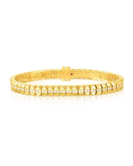 "Roberto Coin Rock and Diamonds 18k Yellow Gold Diamond Flexible Bracelet, 6.6"""