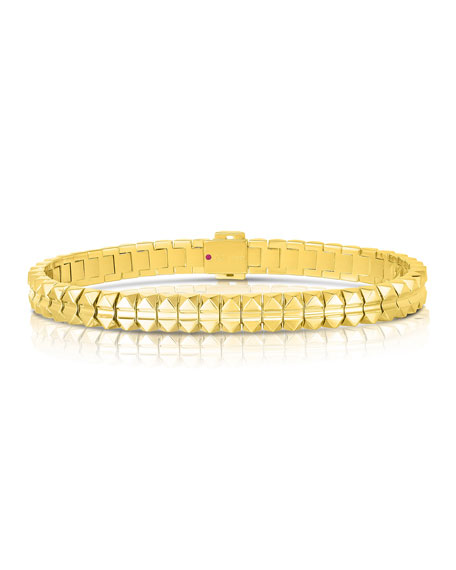 Roberto Coin Rock and Diamonds 18k Yellow Gold Bracelet, 7""