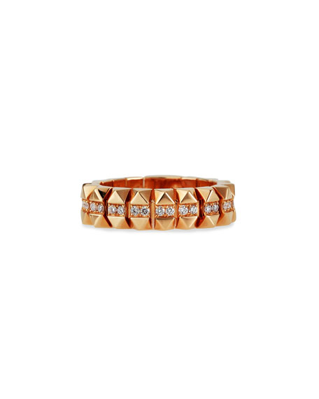 Roberto Coin Rock and Diamonds 18k Rose Gold Diamond Ring, Size 6