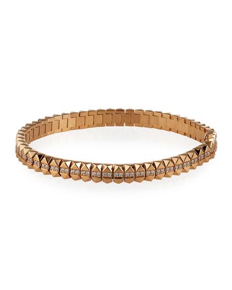 "Roberto Coin Rock and Diamonds 18k Rose Gold Diamond Bracelet, 6.6"""