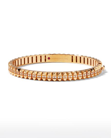Roberto Coin Rock and Diamonds 18k Rose Gold Diamond Bangle Bracelet, 48x58mm