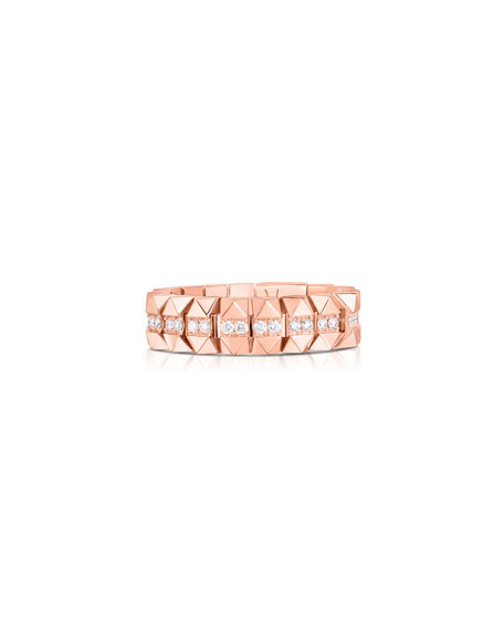 Roberto Coin Rock and Diamonds 18k Rose Gold Diamond Ring, Size 7