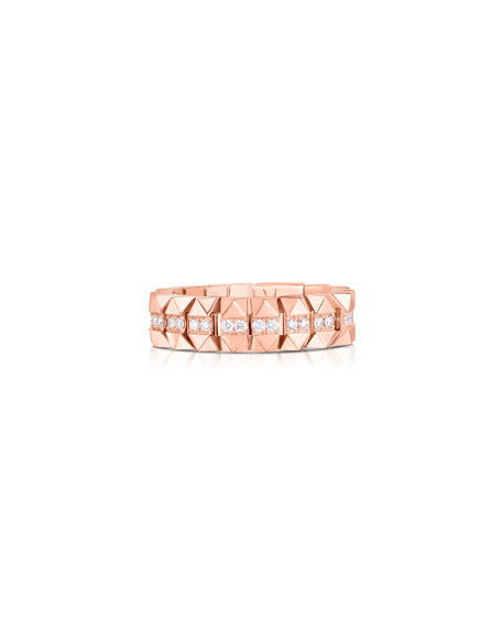 Roberto Coin Rock and Diamonds 18k Rose Gold Diamond Ring, Size 7.5