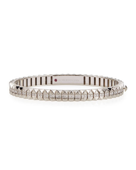 Roberto Coin Rock and Diamonds 18k White Gold Diamond Bangle Bracelet, 46x56mm