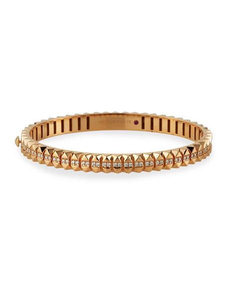 Roberto Coin Rock and Diamonds 18k Rose Gold Diamond Bangle Bracelet, 46x56mm