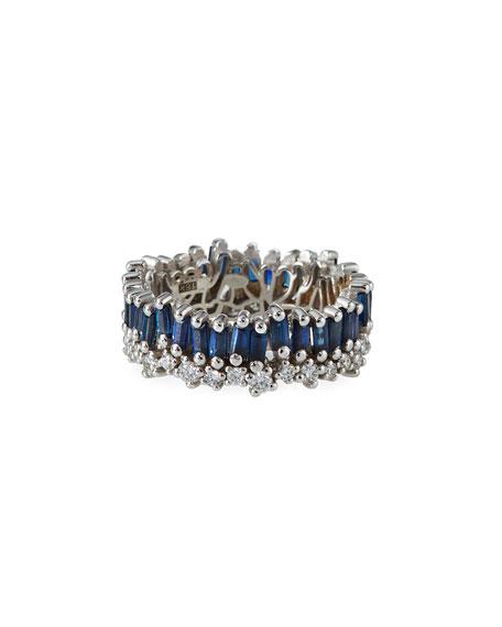 Suzanne Kalan 18k White Gold Blue Sapphire Eternity Ring, Size 6