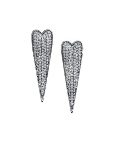 Diamond Narrow Heart Earrings