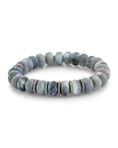 10mm Gray Opal Diamond 5-Rondelle Bracelet