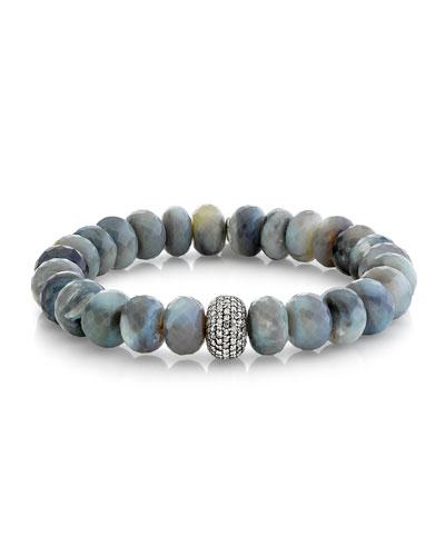 Gray Opal Diamond 1-Donut Bead Bracelet