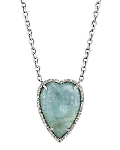Aquamarine Heart Pendant Necklace