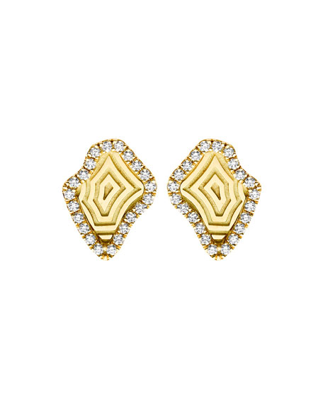 Kimberly McDonald Signature Gold Agate Pattern Mini Stud Earrings with Diamonds