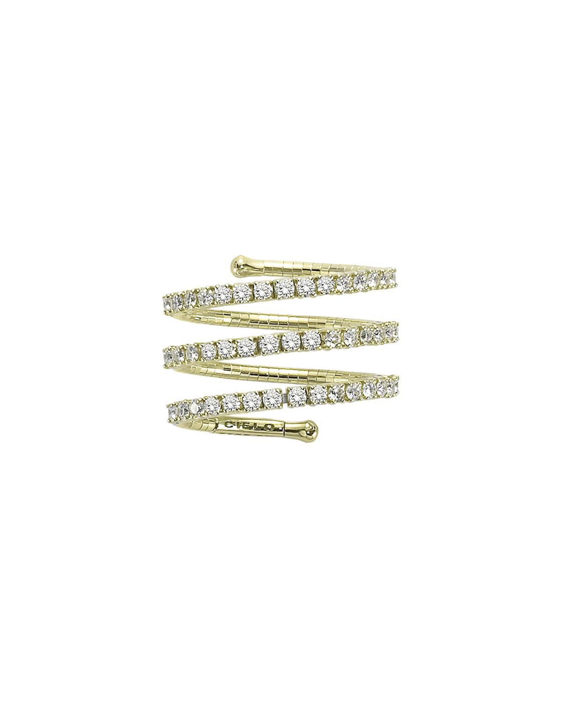18k Yellow Gold 3-Row Diamond Spiral Ring