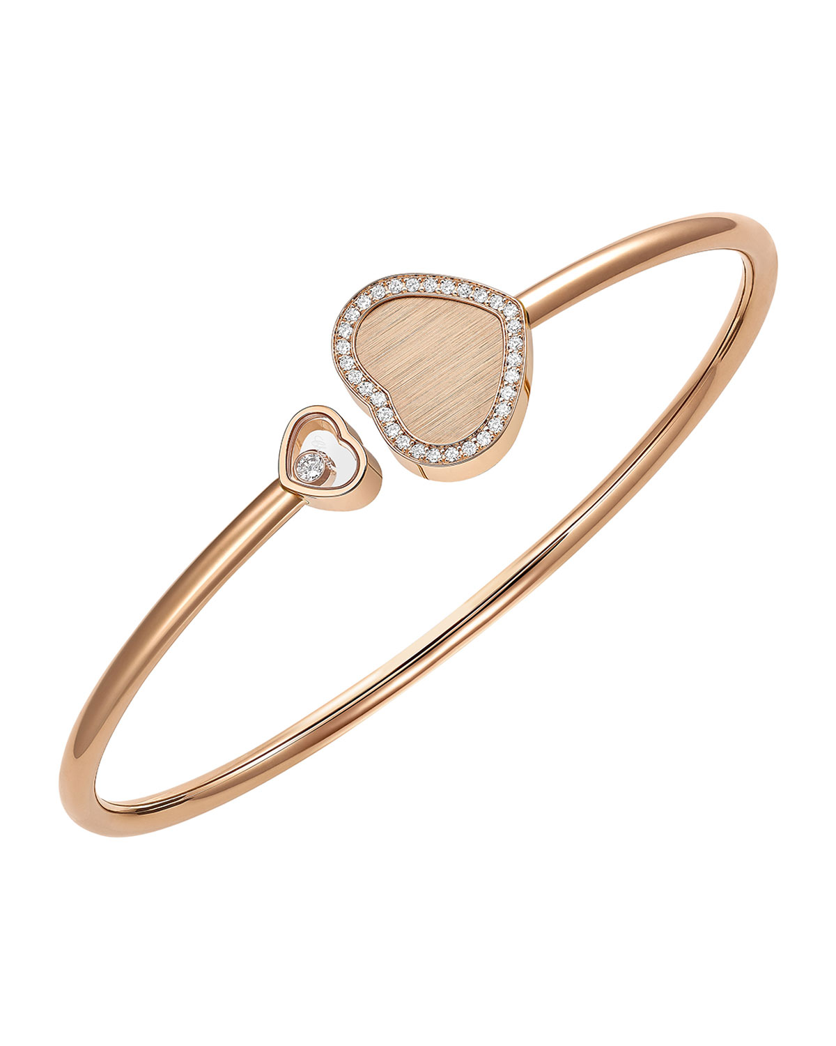 Happy Hearts 18k Rose Gold Split Bangle with Diamond and Pave