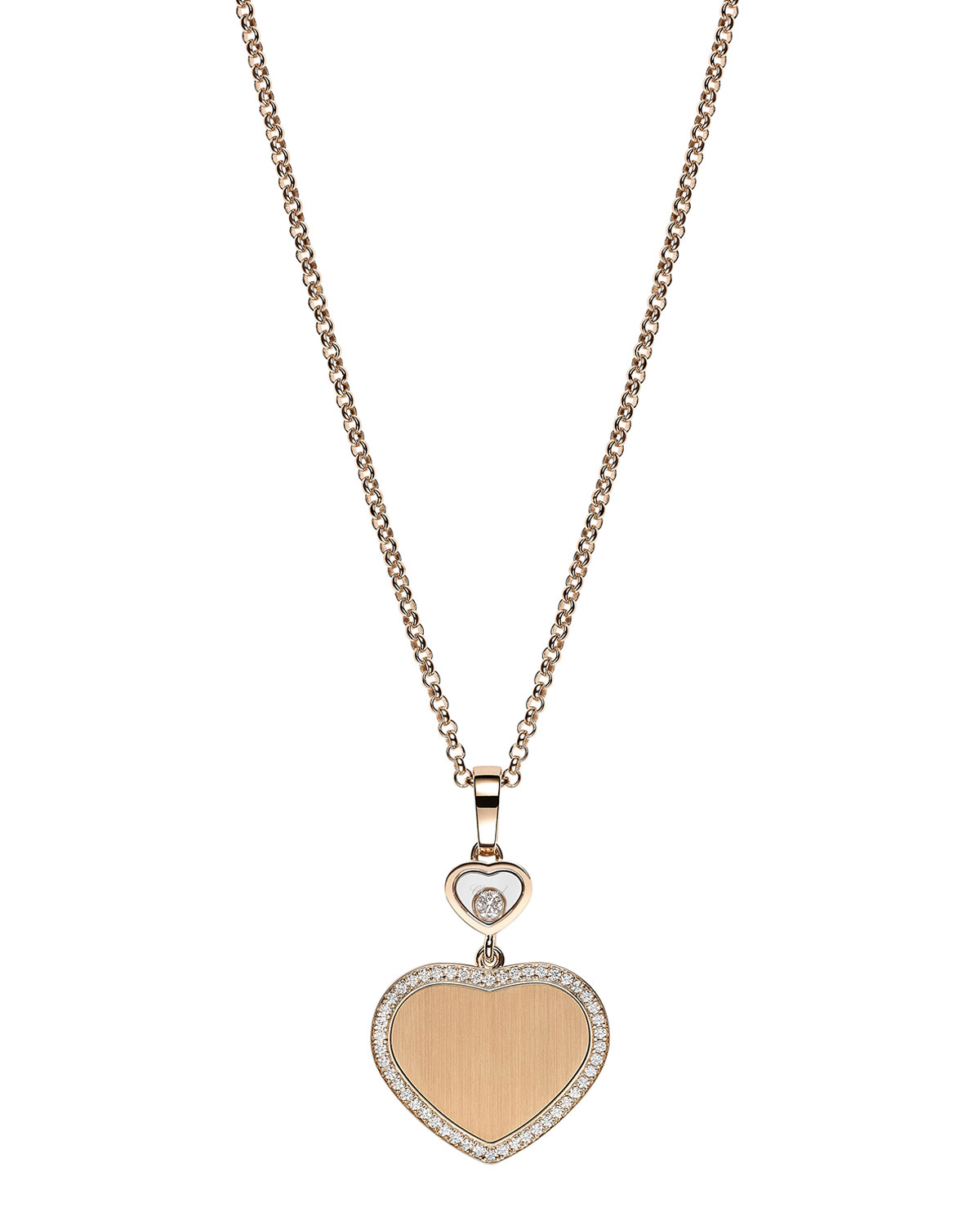 Happy Hearts 18k Rose Gold Pendant Necklace with Diamond and Pave
