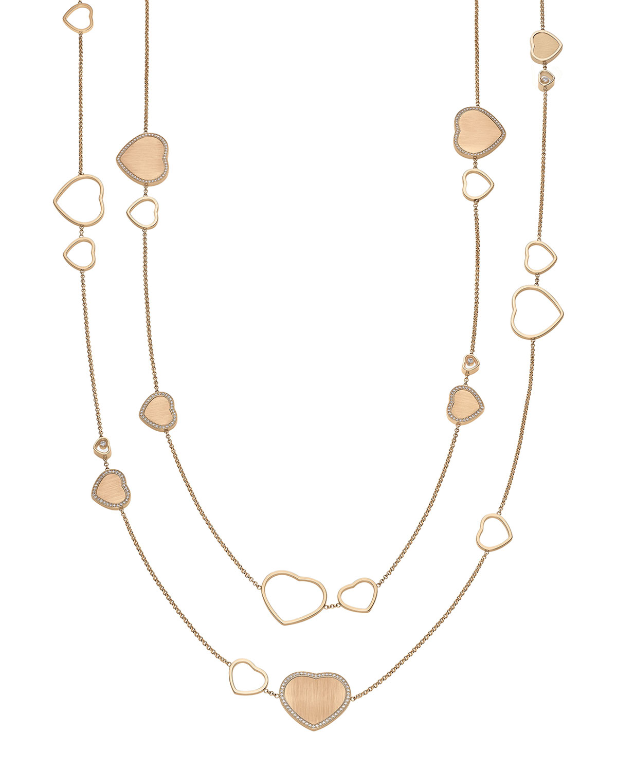 Happy Hearts 18k Rose Gold Long Necklace with Diamonds
