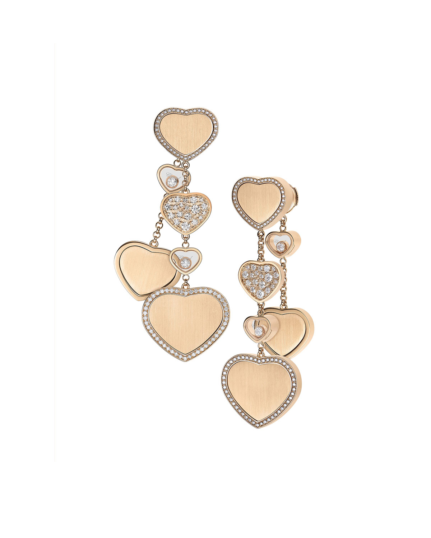 Happy Hearts 18k Rose Gold Chain Dangle Earrings with Diamonds