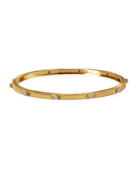 Buccellati Macri 18k Yellow Gold Diamond 3mm Bangle, Size 16