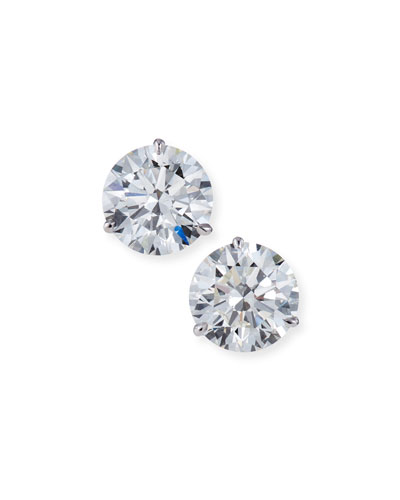 Solid 14K Yellow Gold 1.5TCW Created Diamond Sapphire Heart Halo Stud Earrings