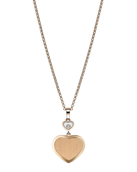 Chopard Happy Hearts 18k Rose Gold Pendant Necklace with Diamond