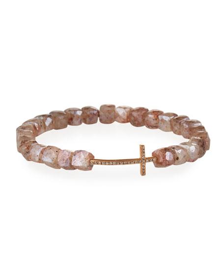 Sydney Evan 14k Rose Gold Diamond Cross and Moonstone Bracelet