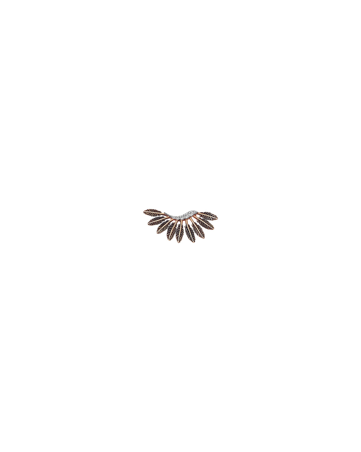 Feather and Diamond Stud Earring