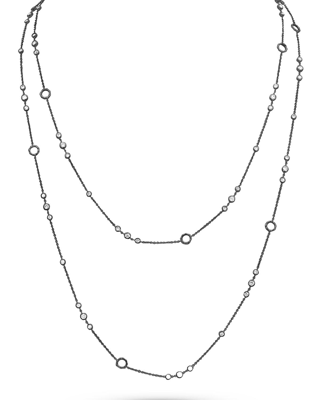 Long 18k Black Gold Diamond Trio Layer Necklace