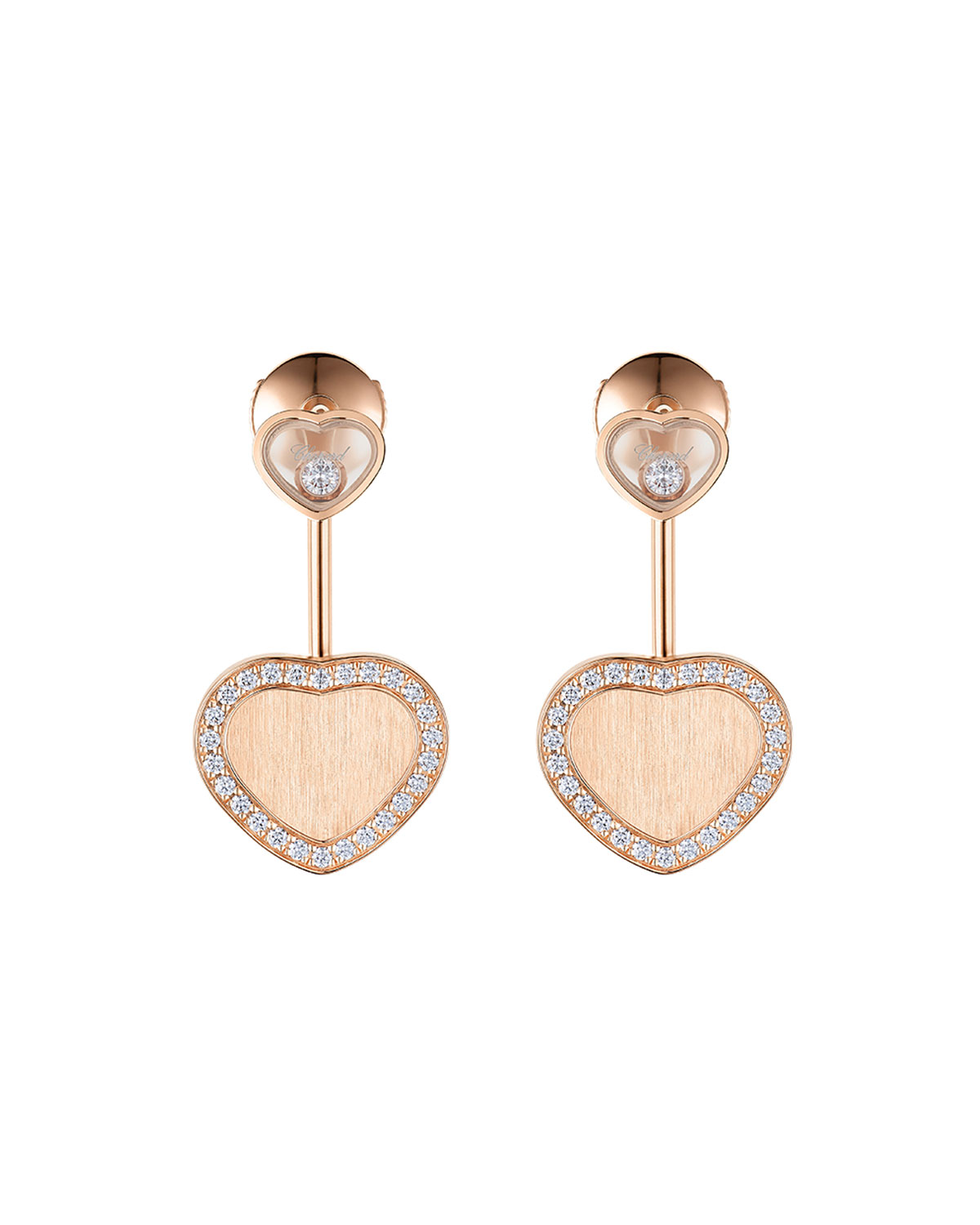 Happy Hearts 18k Rose Gold Diamond and Drop Earrings