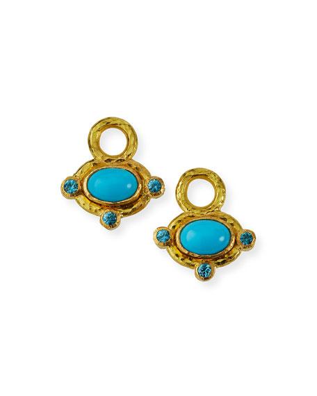 Elizabeth Locke 19k Cabochon Turquoise Earring Pendants