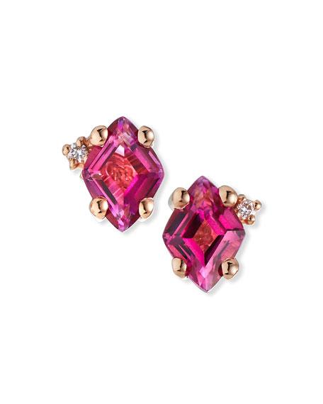 KALAN by Suzanne Kalan 14K Rose Gold Princess-Cut Stud Earrings in Rhodolite