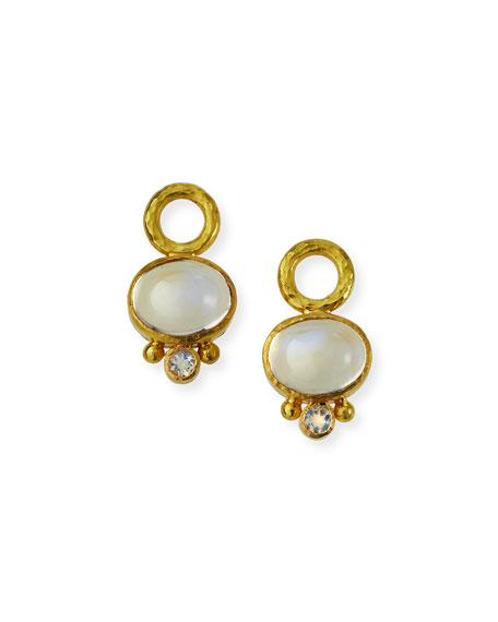 Elizabeth Locke 19k Cabochon Moonstone Earring Pendants