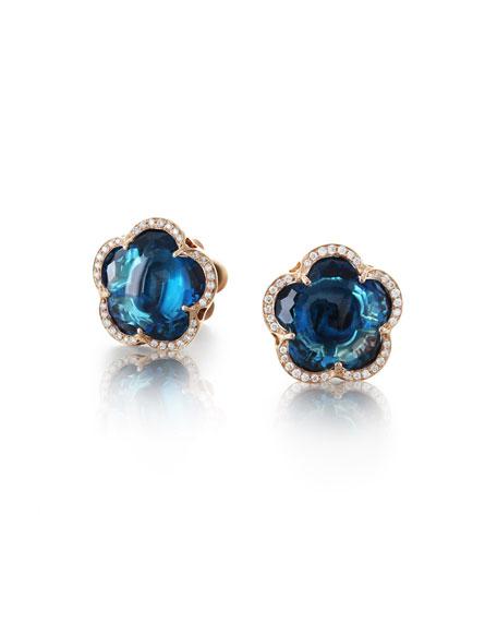 Pasquale Bruni Bon Ton 18k London Blue Topaz Earrings with Diamonds