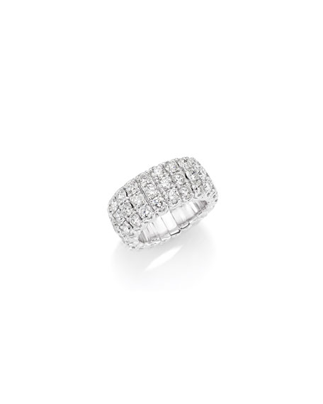 Picchiotti Xpandable 18k White Gold Diamond 3-Row Ring, 5.85tcw