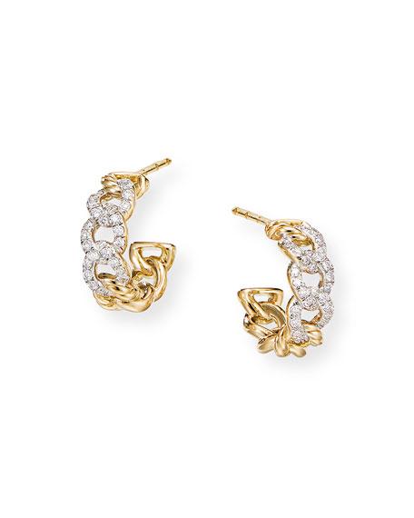 David Yurman Belmont Huggie Hoop Earrings in 18k Gold with Diamonds