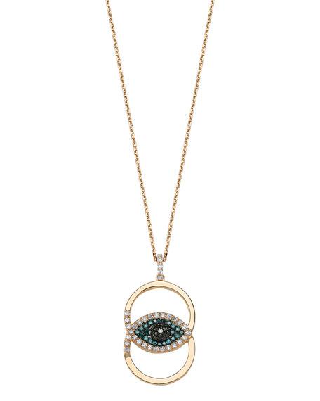BeeGoddess Eye Light 14k Overlapping Diamond Pendant Necklace