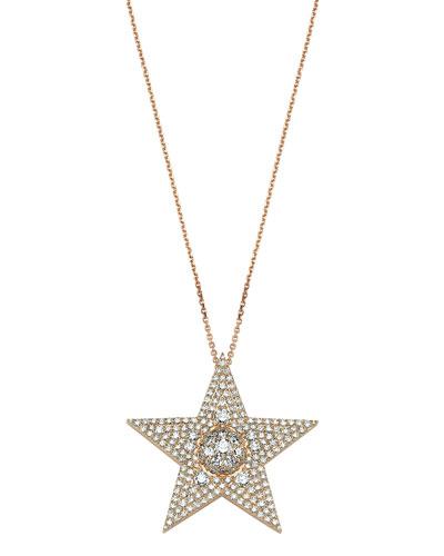 Sirius Star 14k Diamond Large Pendant Necklace