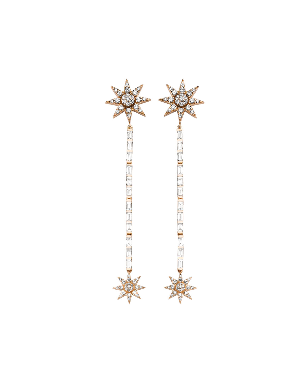 Venus Star 14k Linear Diamond Earrings