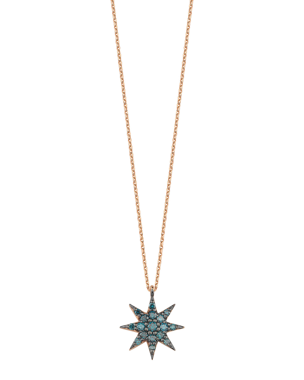 Venus Star 14k Blue Diamond Pendant Necklace