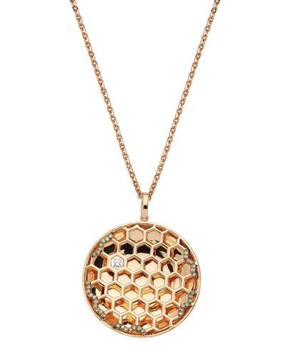 14k Diamond Honeycomb Pendant Necklace