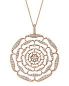 BeeGoddess Rosa Mundi 14k Open Diamond Pendant Necklace