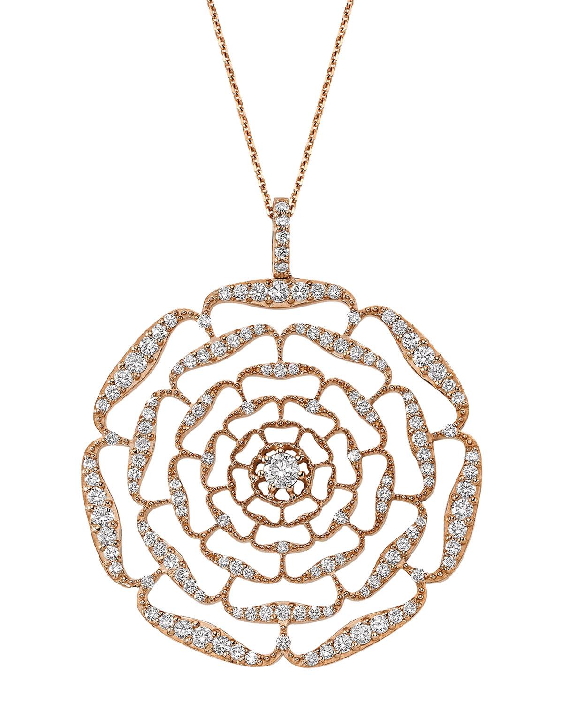 Rosa Mundi 14k Open Diamond Pendant Necklace