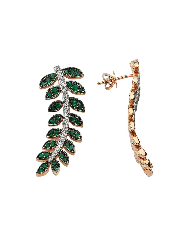 Feather of Goddess Freya Emerald and Diamond Earrings