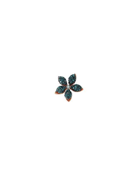 BeeGoddess Apple Seed Blue Diamond Stud Earring, Single