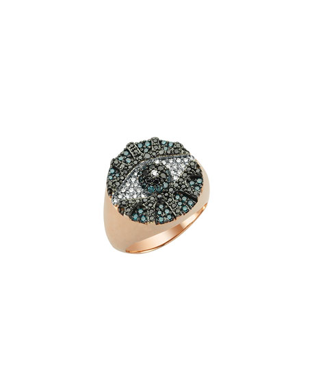 BeeGoddess Eye Light Multi-Diamond Pave Pinky Ring, Size 7