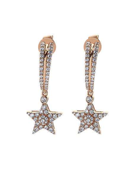 BeeGoddess Sirius Star 14k Diamond Drop Earrings