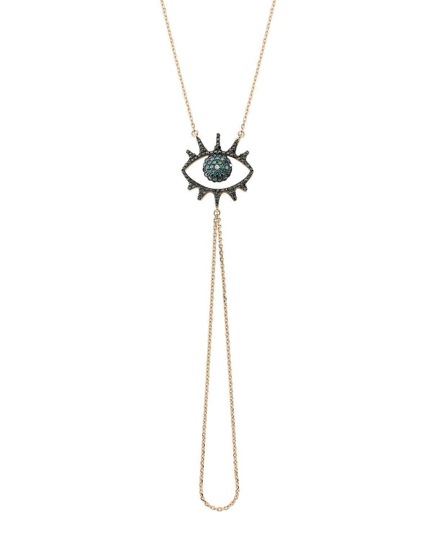 Eye Light Open Diamond and Chain Hand Bracelet