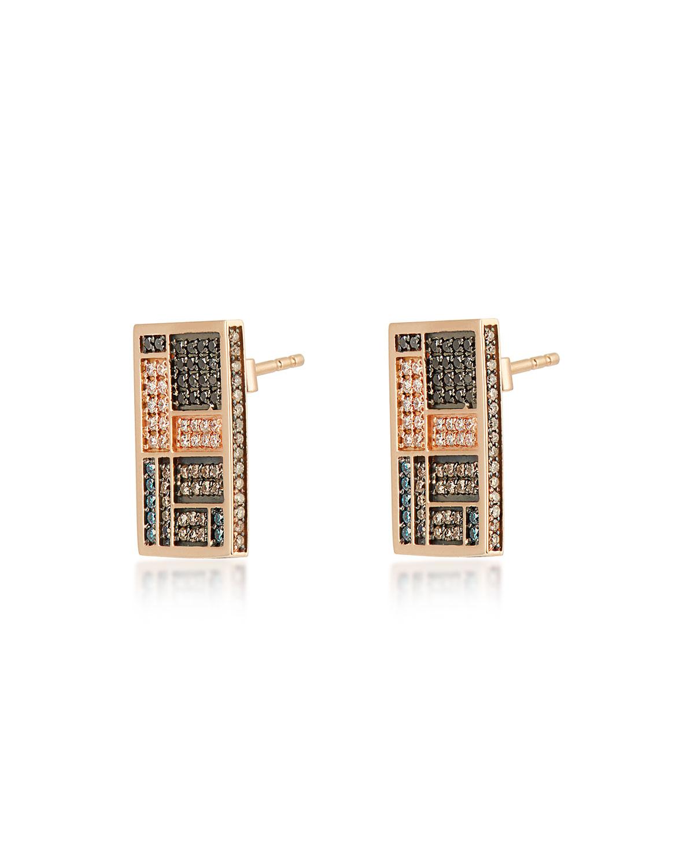 Mondrian Multi-Diamond Stud Earrings