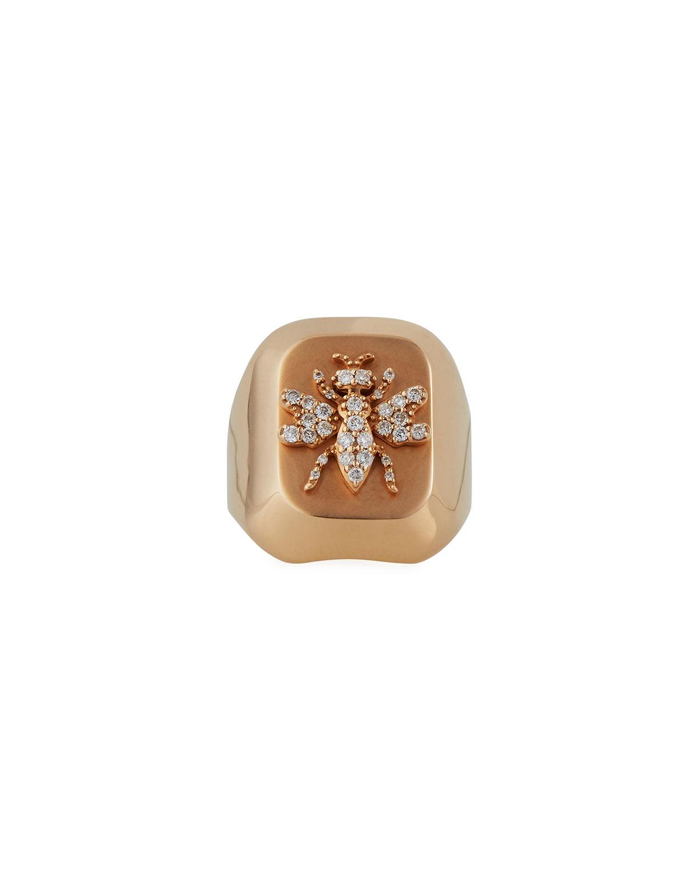 14k Honey Bee Ring with Diamonds